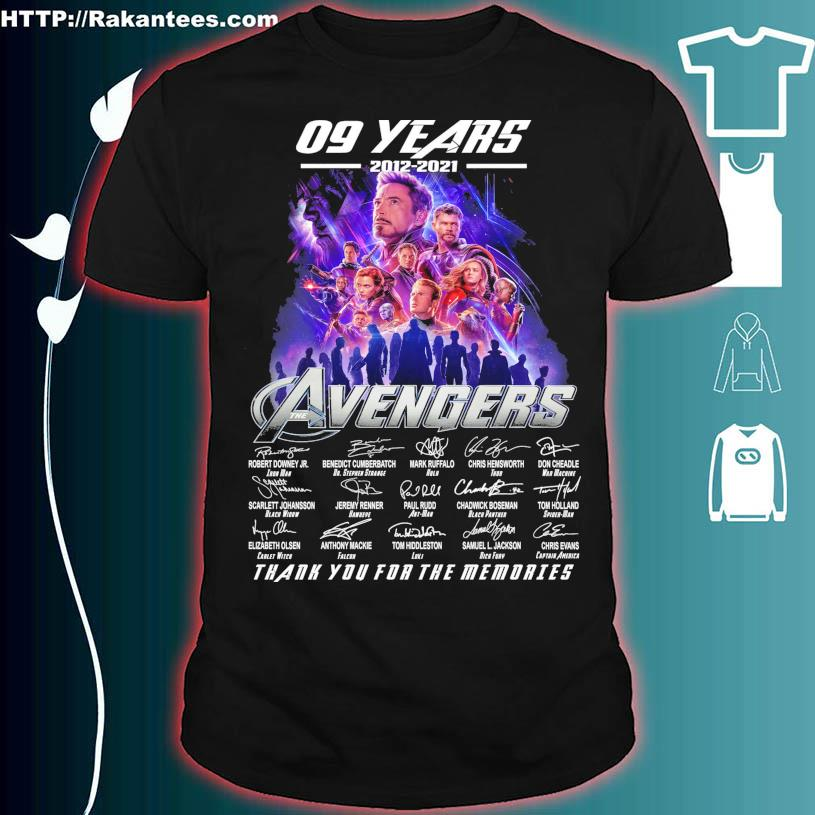 09 Years 2012 2021 Avenger thank you for the memories signatures shirt