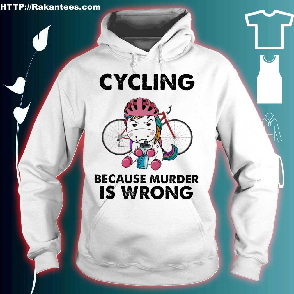 Unicorn cycling because murder is wrong hoodie
