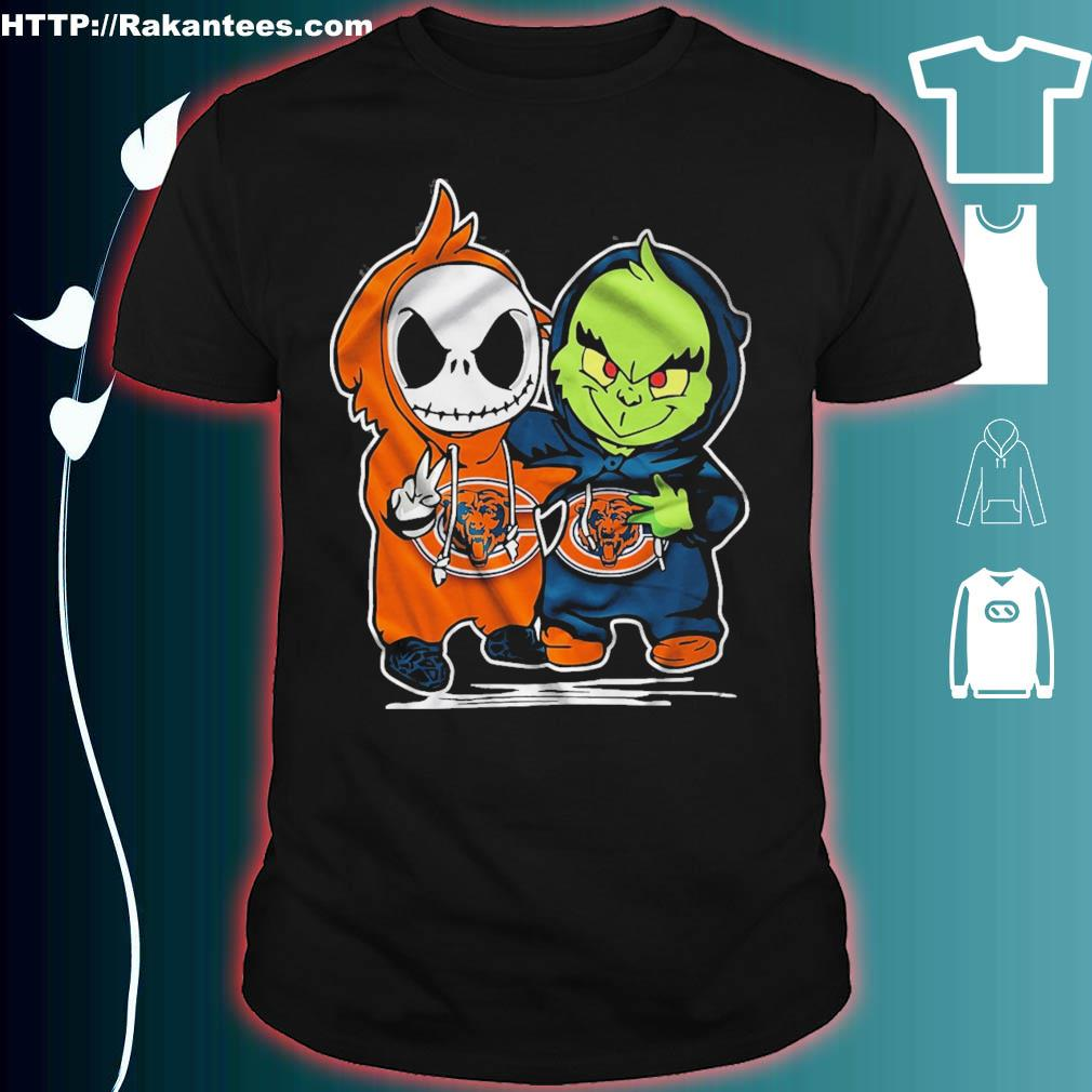 Baby Skeleton and Baby Grinch Chicago Bears shirt