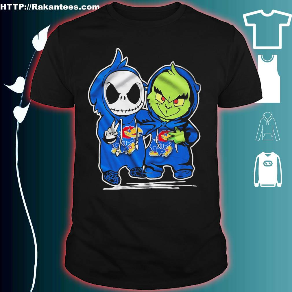Baby Skeleton and Baby Grinch Kansas Jayhawk shirt