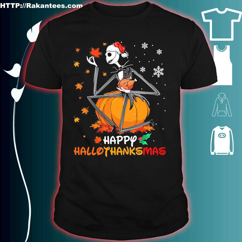 Jack Skellington hug chicken happy hallothanksmas shirt
