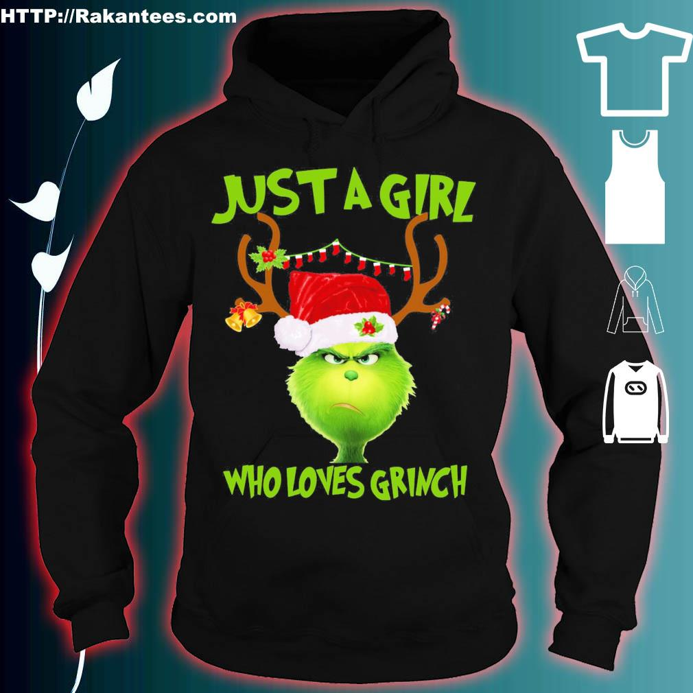 Official Just A Girl Who Loves Grinch Ugly Christmas Shirt hoodie