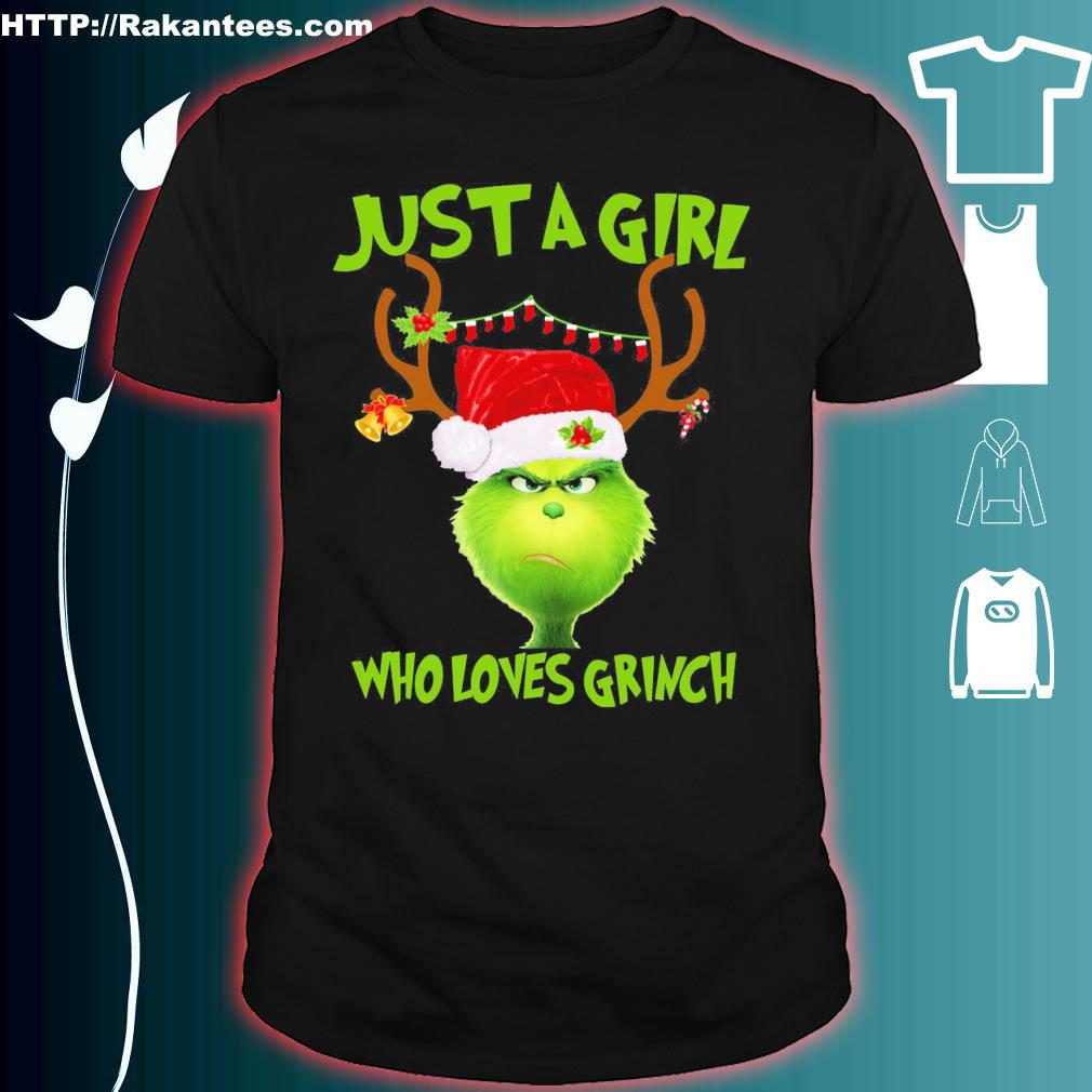 Official Just A Girl Who Loves Grinch Ugly Christmas Shirt