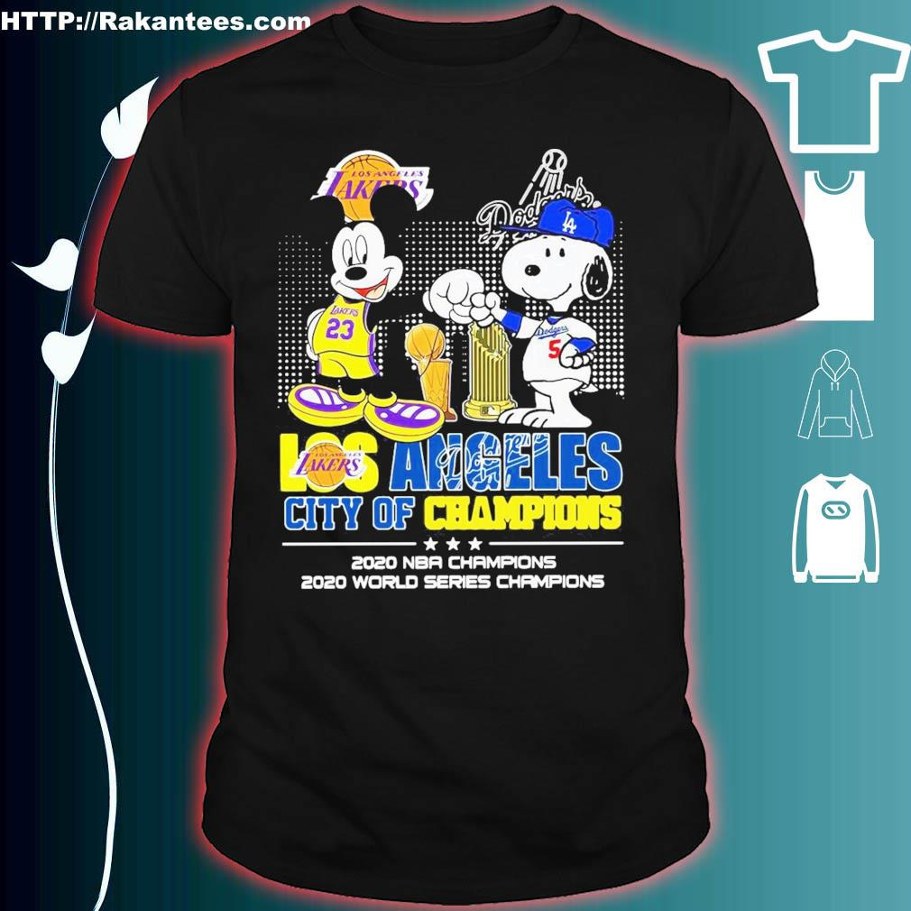 Official Mickey Mouse Los Angeles Lakers And Snoopy Los Angeles Dodgers City Of Champions 2020 Nba Champions Shirt
