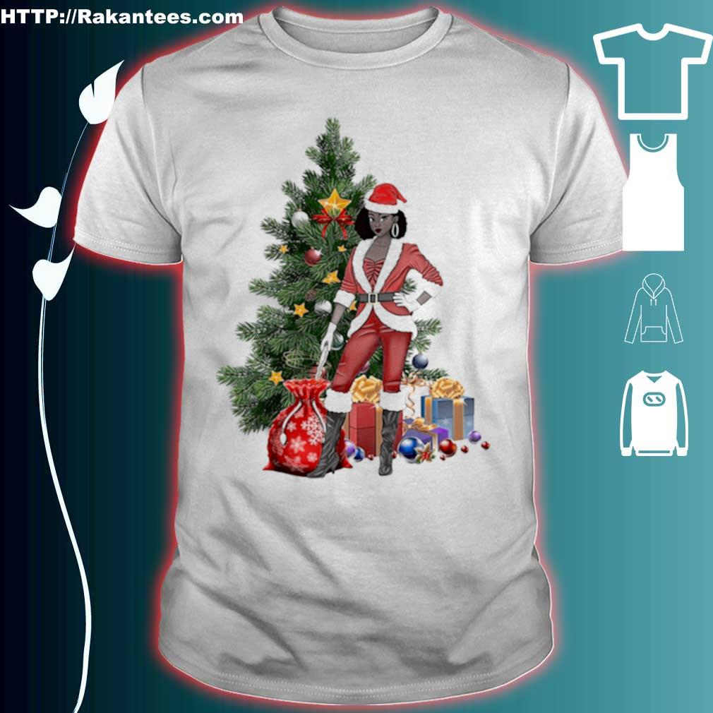 Official Black Women Santa Claus Style Christmas Shirt