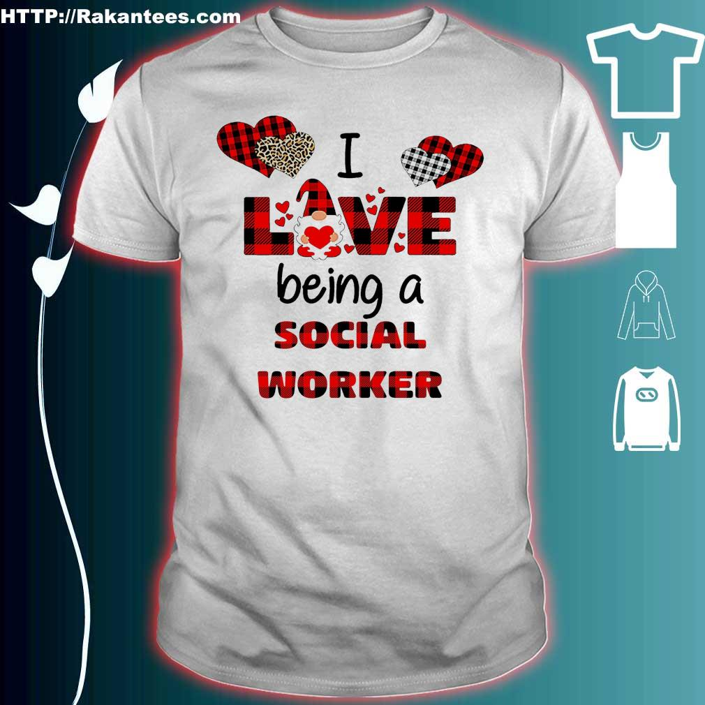 Official I love being a social worker Gnome Valentine Shirt