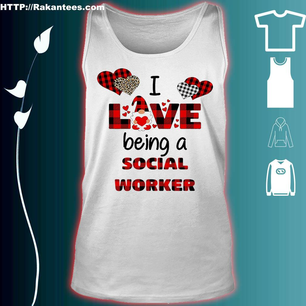 Official I love being a social worker Gnome Valentine Shirt tank top